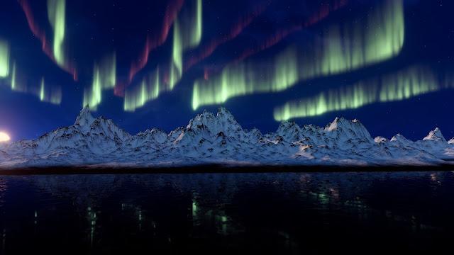 aurora, montagne, mare, notte,