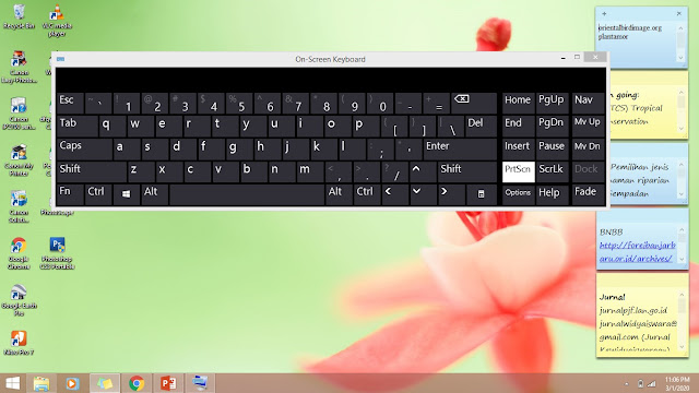 cara screenshot komputer dengan On-Screen Keyboard