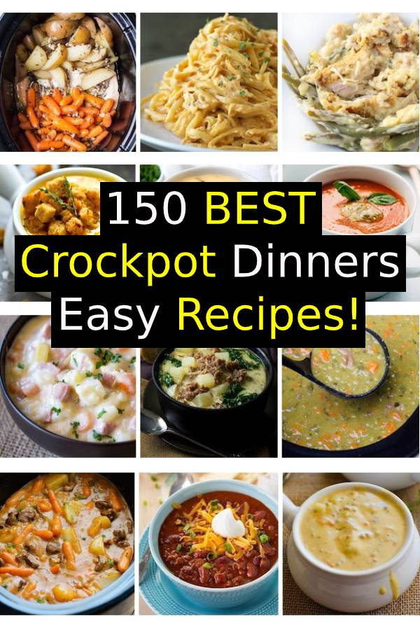150 Best Crockpot Dinners Easy Recipes! | Crockpot Dinners Easy Fall Recipes Families will LOVE! HUGE list of cozy crock pot dinner ideas! Go grab a new recipe to try this week! #Fall #Crockpot #SlowCooker #FallRecipes #ComfortFood #dinner