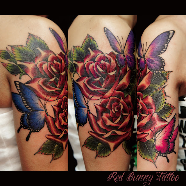 rose butterfly tattoo 蝶 薔薇 タトゥー