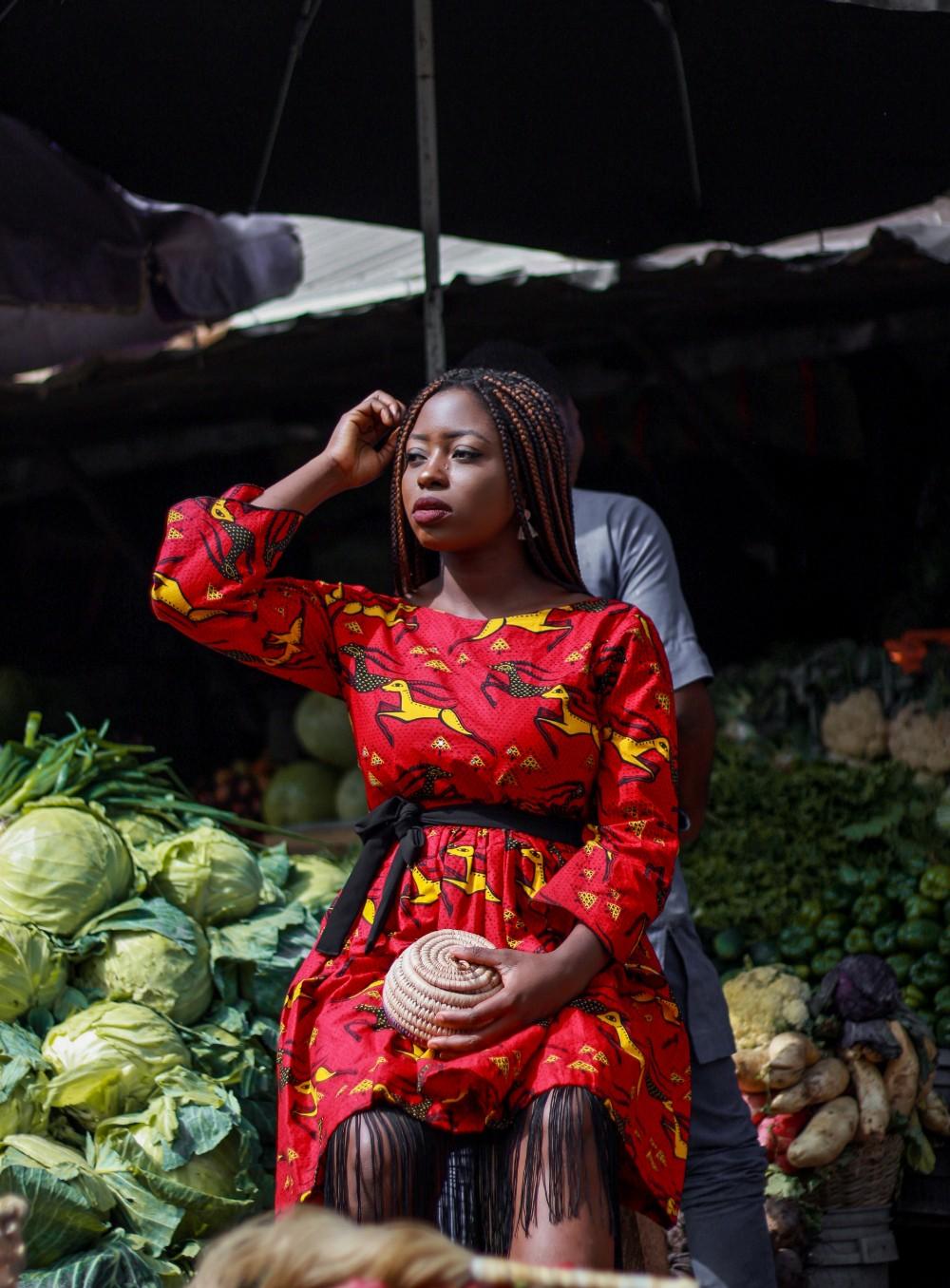 ankara African print in a nigerian market
