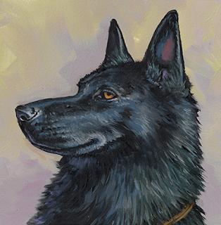 A portrait of XK9 Rex, a large black dog.