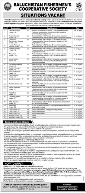 Baluchistan-Fishermens-Cooperative-Society-Jobs-2020 Apply-Online-via ctsp