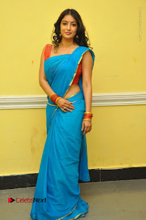 Telugu Actress Vaibhavi Stills in Blue Saree at Www.Meena Bazaar Movie Opening  0098.JPG