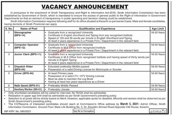 sindh-information-commission-jobs-2021-application-form