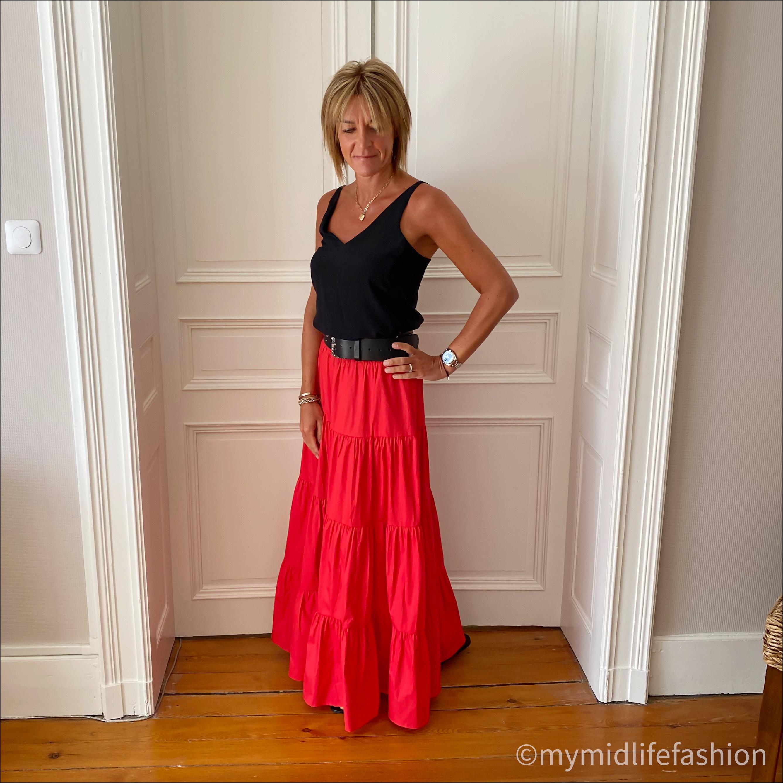 my midlife fashion, mango flared poplin skirt, tibi silk camisole, Joseph studded belt, Ancient Greek desmos leather slides