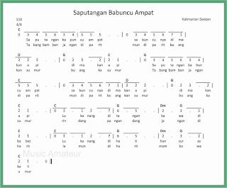 not angka lagu saputangan babuncu Ampat lagu daerah kalimantan selatan