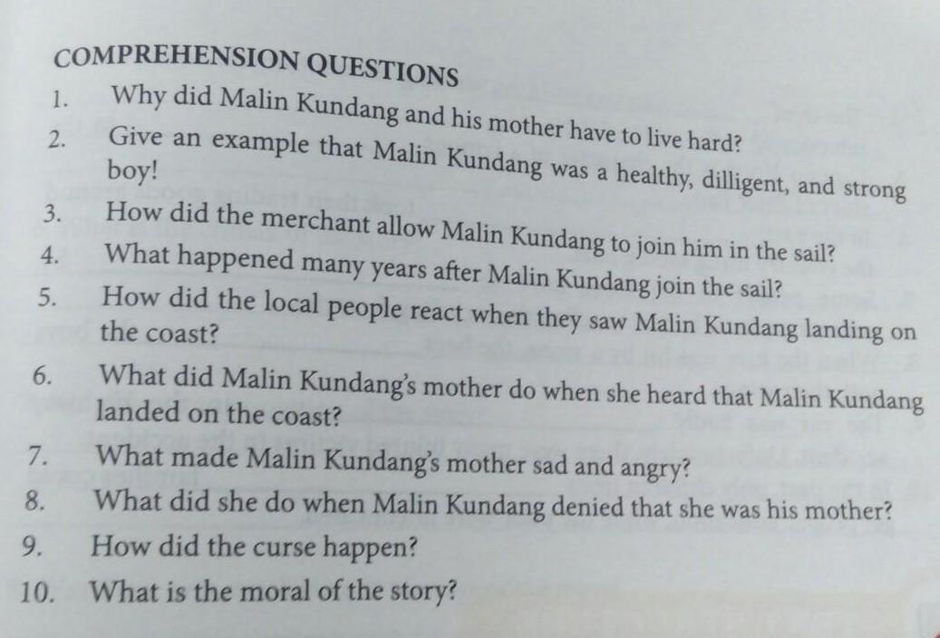 Kunci Jawaban Comprehension Question The Legend Malin Kundang Halaman 173