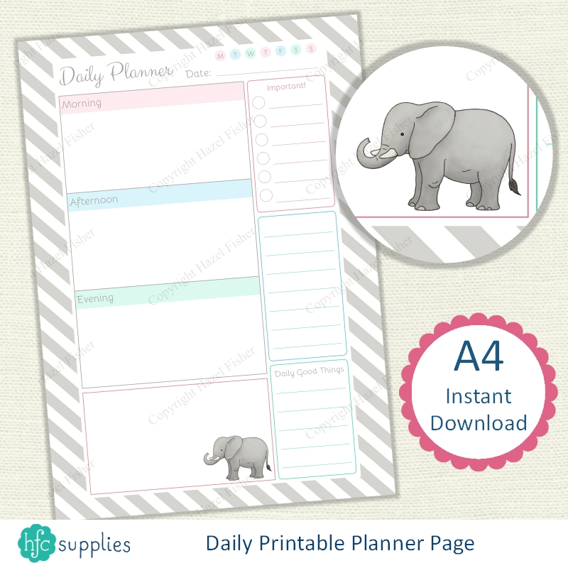 Elephant Printable Planner Set, Instant Download on Etsy hfcSupplies, designed by Hazel Fisher Creations