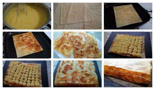 Preparación del milhojas sin horno de pasta filo con crema pastelera