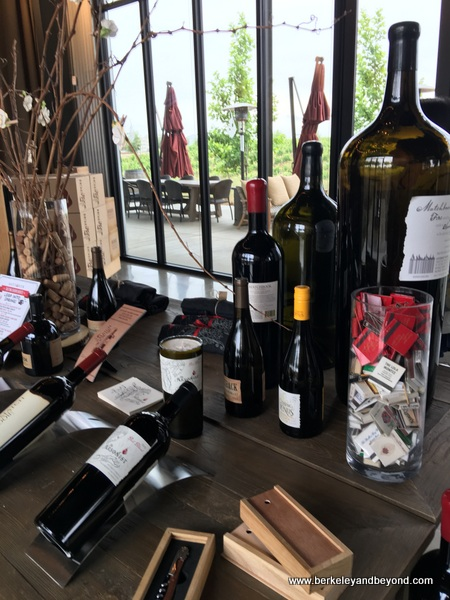 wine display at Matchbook Winery in Zamora, California