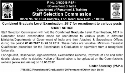 SSC CGL 2017-2018 Recruitment Exam Notification Online Application Form