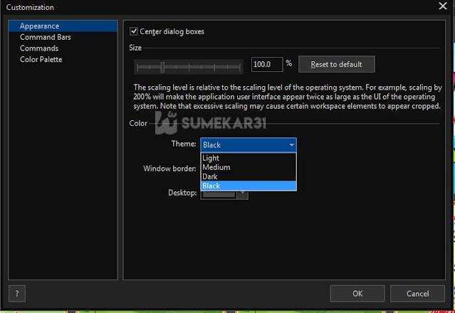 pilih menu Workspace - Appearance - Theme
