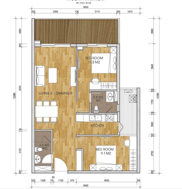 mặt bằng thiết kế căn hộ the two residence