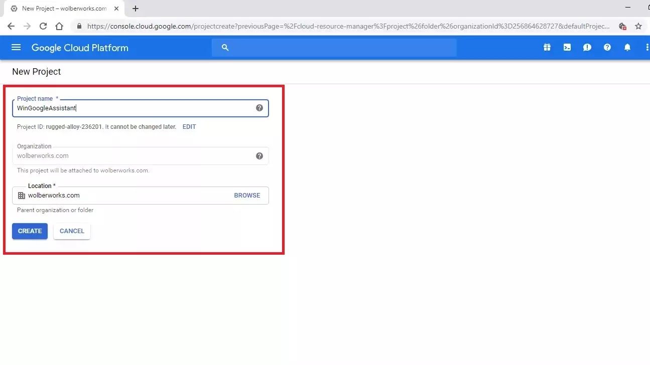 Google Cloud Platform New Project screen