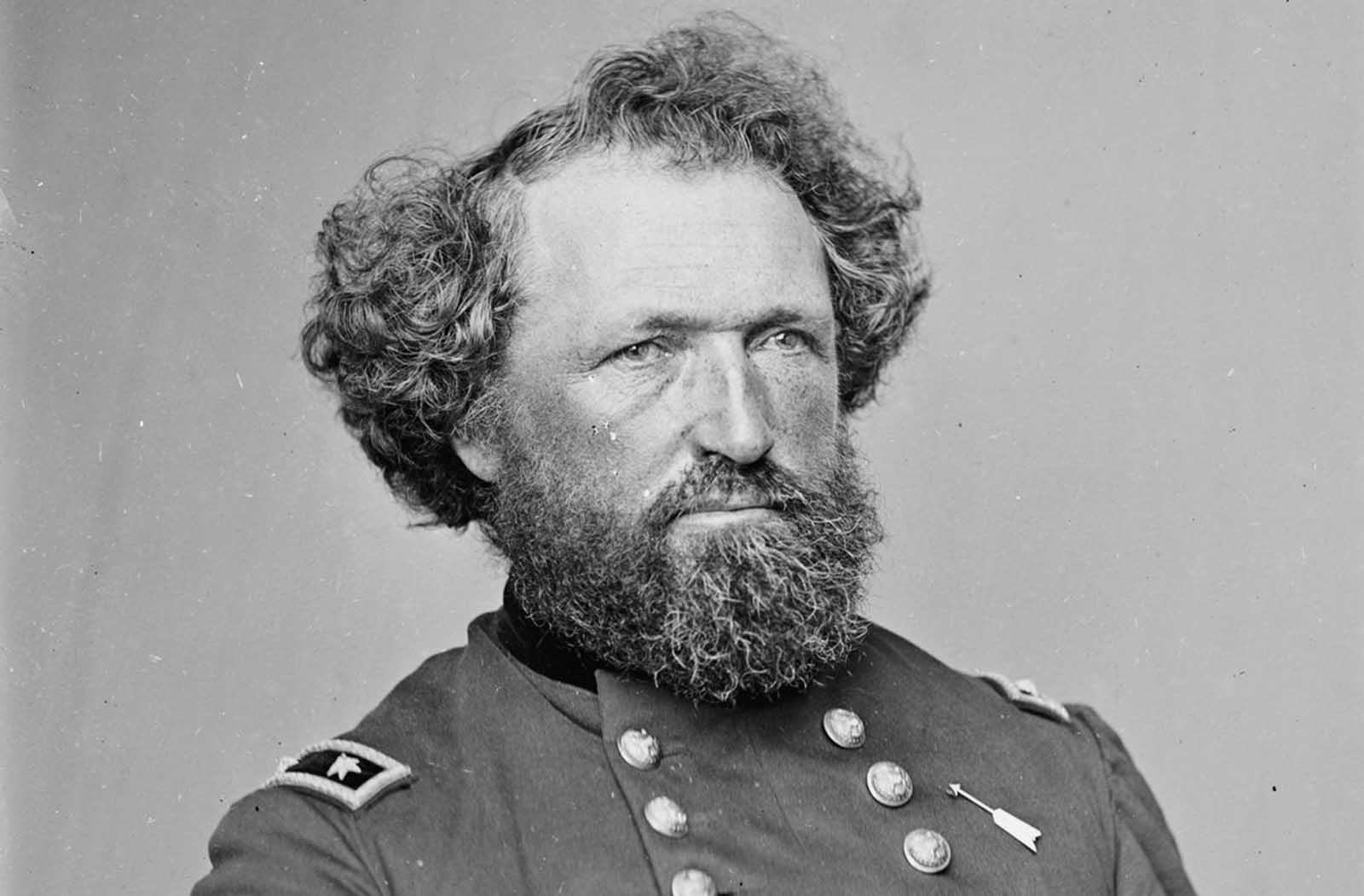 Union Major General Mortimer D. Leggett, photographed sometime between 1860 and 1865.