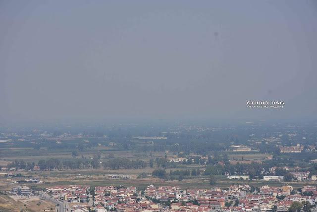 Μυρωδιά καμένου στην Αργολίδα από την πυρκαγιά στην Εύβοια