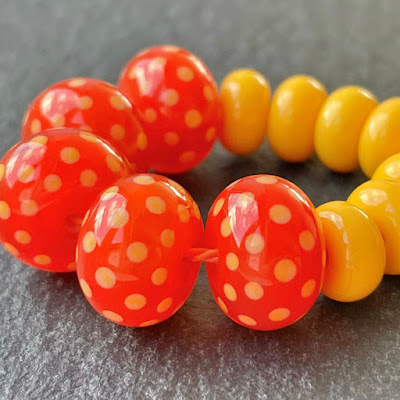 Handmade lampwork glass beads made with Creation is Messy Kniphofia