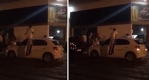 Campo Mourão: Homem sobe em carro da fiscalização