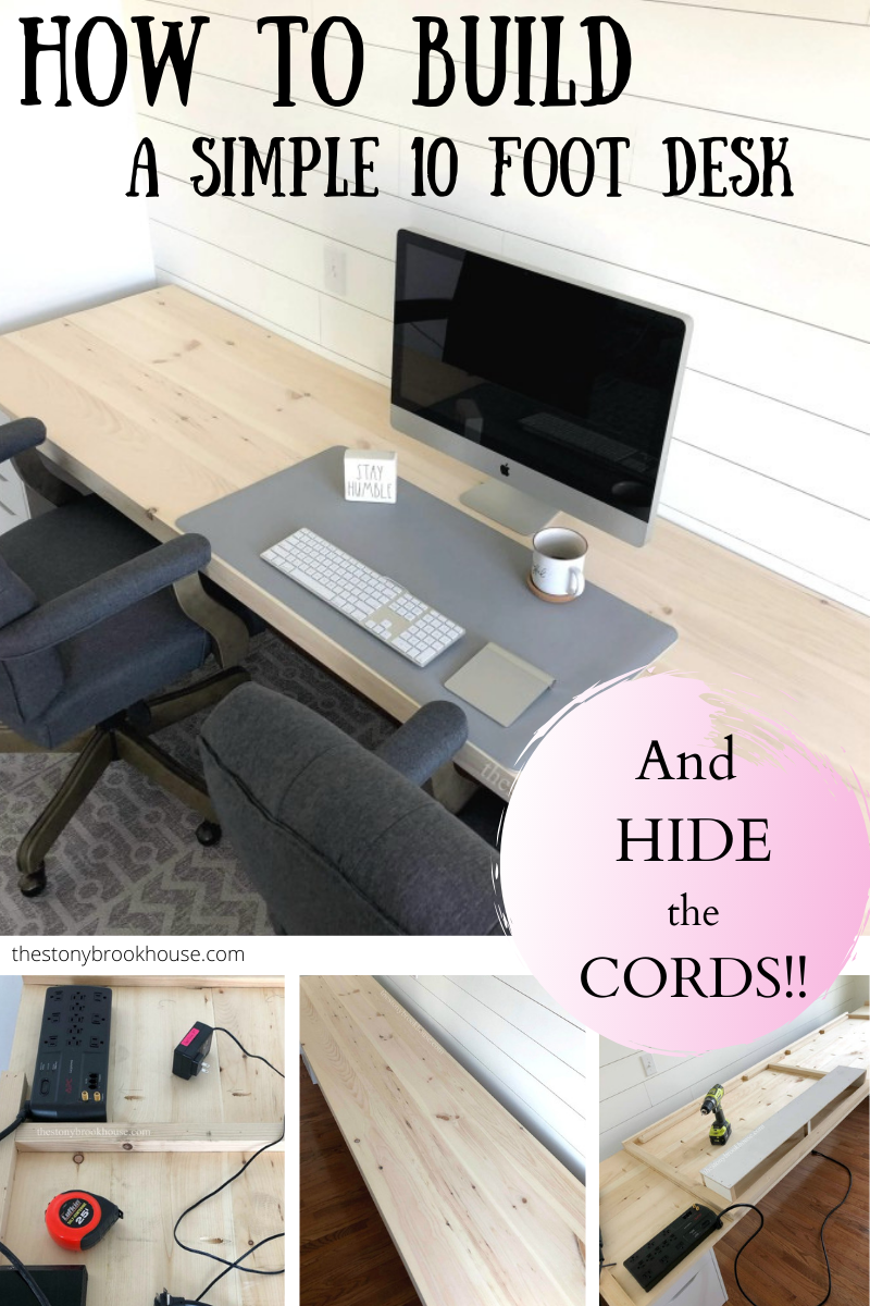 Building A Farmhouse Office Desk - Plus How To Hide Cords!