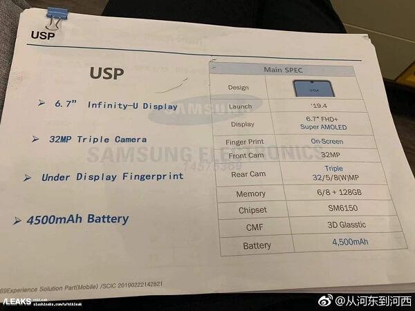 تسريب مواصفات هاتف Samsung Galaxy A60