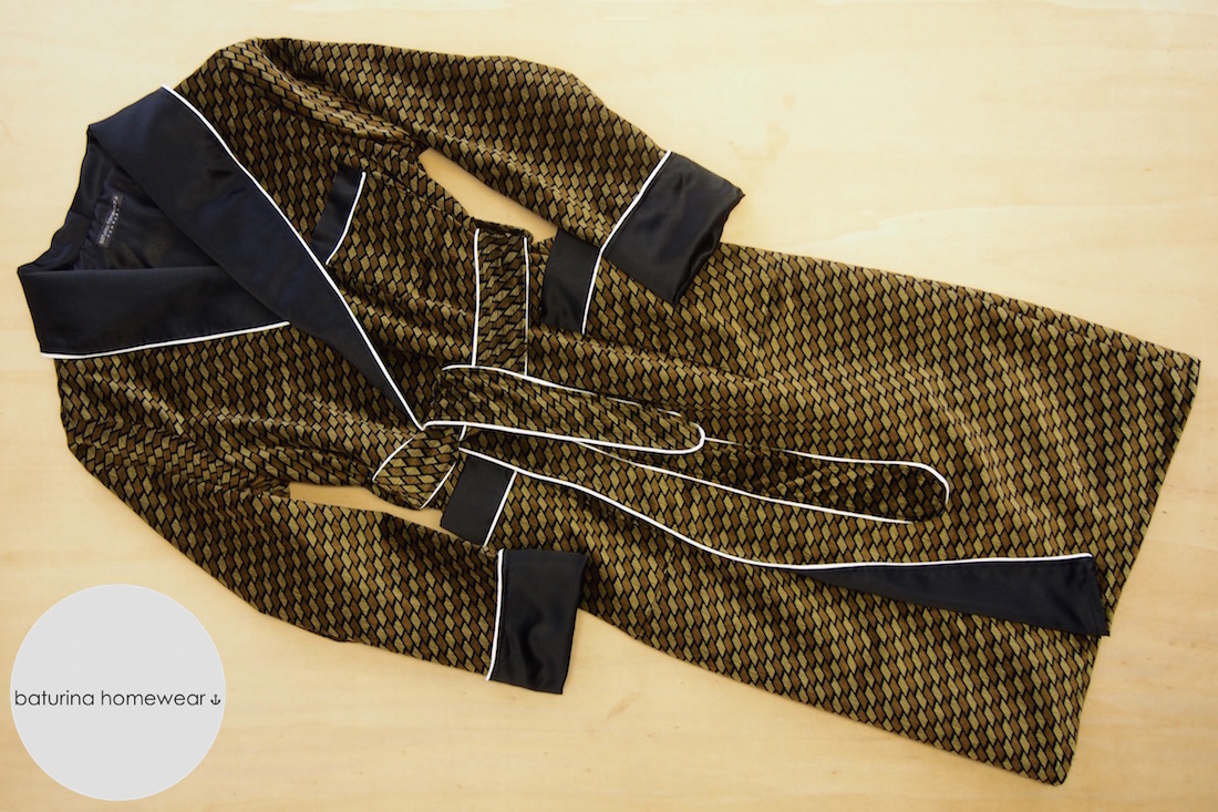 Green Brown Striped Velvet Robe with Black Silk Lapel & White Piping