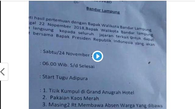 Jokowi Akui Elektabilitasnya di Lampung Rendah, Beredar Surat Mobilisasi Massa ASN