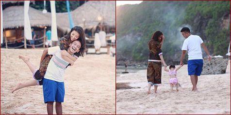 Romantisme Ruben Onsu dan Keluarga, Gendong-Gendongan di Pantai