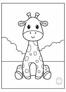 animales bebé para colorear jirafa