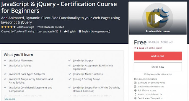 [100% Off] JavaScript & jQuery - Certification Course for Beginners| Worth 149,99$