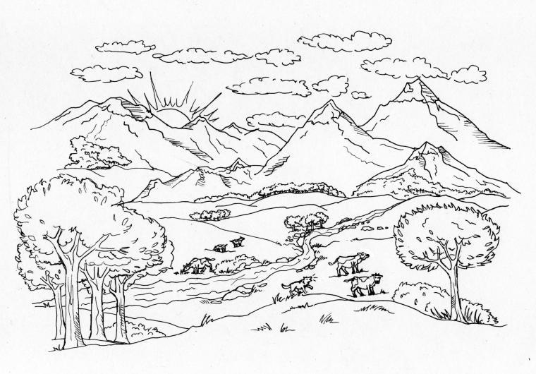 Paesaggi Di Montagna Da Colorare