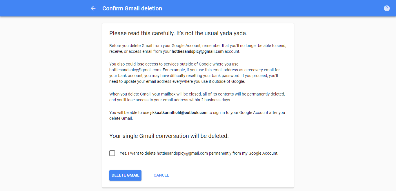 how to close or delete gmail account