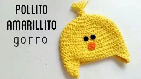 Gorrito Pollito Amarillo a Ganchillo