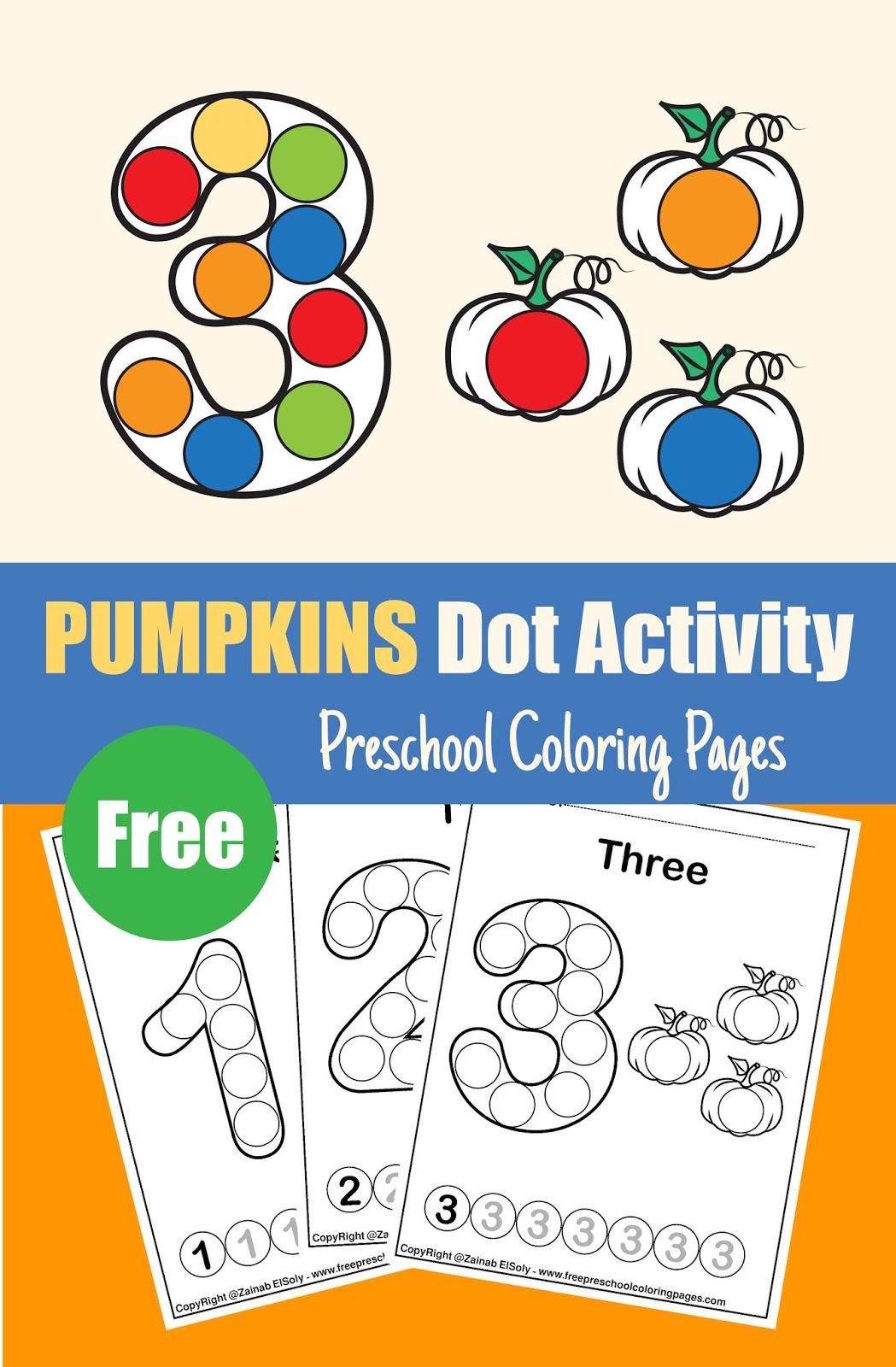 Pumpkins Dot Activity Free Preschool Coloring Sheets Fall