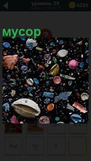 На земле лежит цветной мусор в виде ракушек и другой всякого хлама, выброшенные на берег