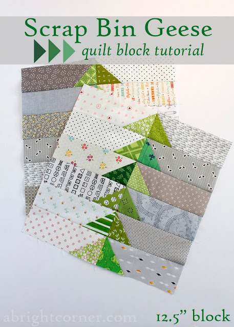 Scrap Bin Geese quilt block tutorial from A Bright Corner