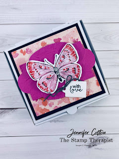 Butterfly Brilliance Bundle by Stampin' Up!.  Also uses the Hydrangea Haven bundle and Mini Pizza Box.  #StampinUp #StampTherapist #ButterflyBrilliance