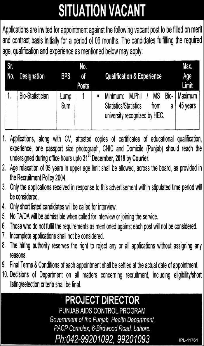 Health Department Government of Punjab Jobs