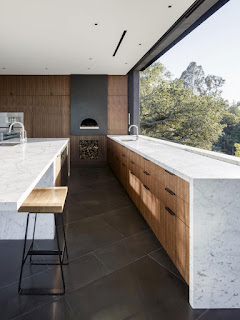 modern wood kitchen cabinet and stone