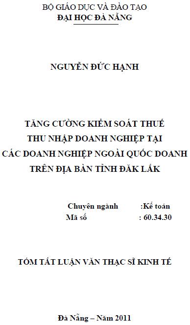 Tăng cường kiểm soát thuế thu nhập doanh nghiệp tại các doanh nghiệp ngoài quốc doanh trên địa bàn tính Đắk Lắk