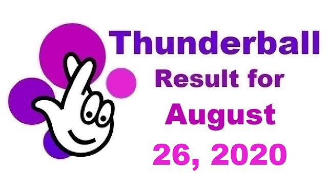 Thunderball Results for Wednesday, August 26, 2020