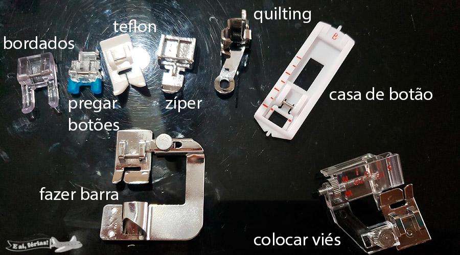 Alguns calcadores da Singer para máquinas domésticas