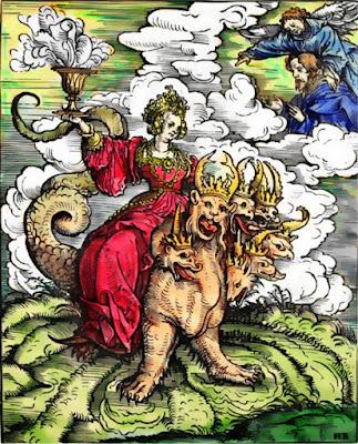 """Apocalipse 17 17:1-12. Três são os grupos a serem identificados neste parágrafo inicial do apocalipse;  A besta, que tem sete cabeças e dez chifres;  A meretriz assentada sobre a besta;  e aqueles que são chamados de muitas águas mais tarde E enominados de """"povos, e multidões, e nações, e línguas"""" (v. 15)."""