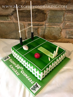 rugby pitch, cricket pitch cake.