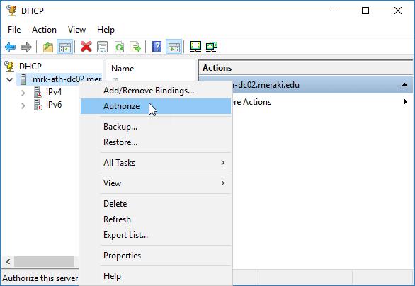 تخويل DHCP Server 2016 في Active Directory