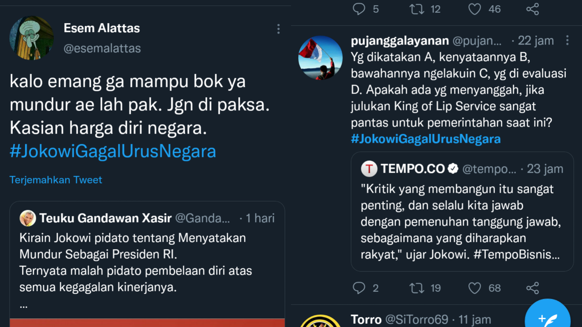 Trending Tagar #JokowiGagalUrusNegara, Netizen: Kalau Memang Sudah Tak Mampu, Mending Mundur Saja Pak!