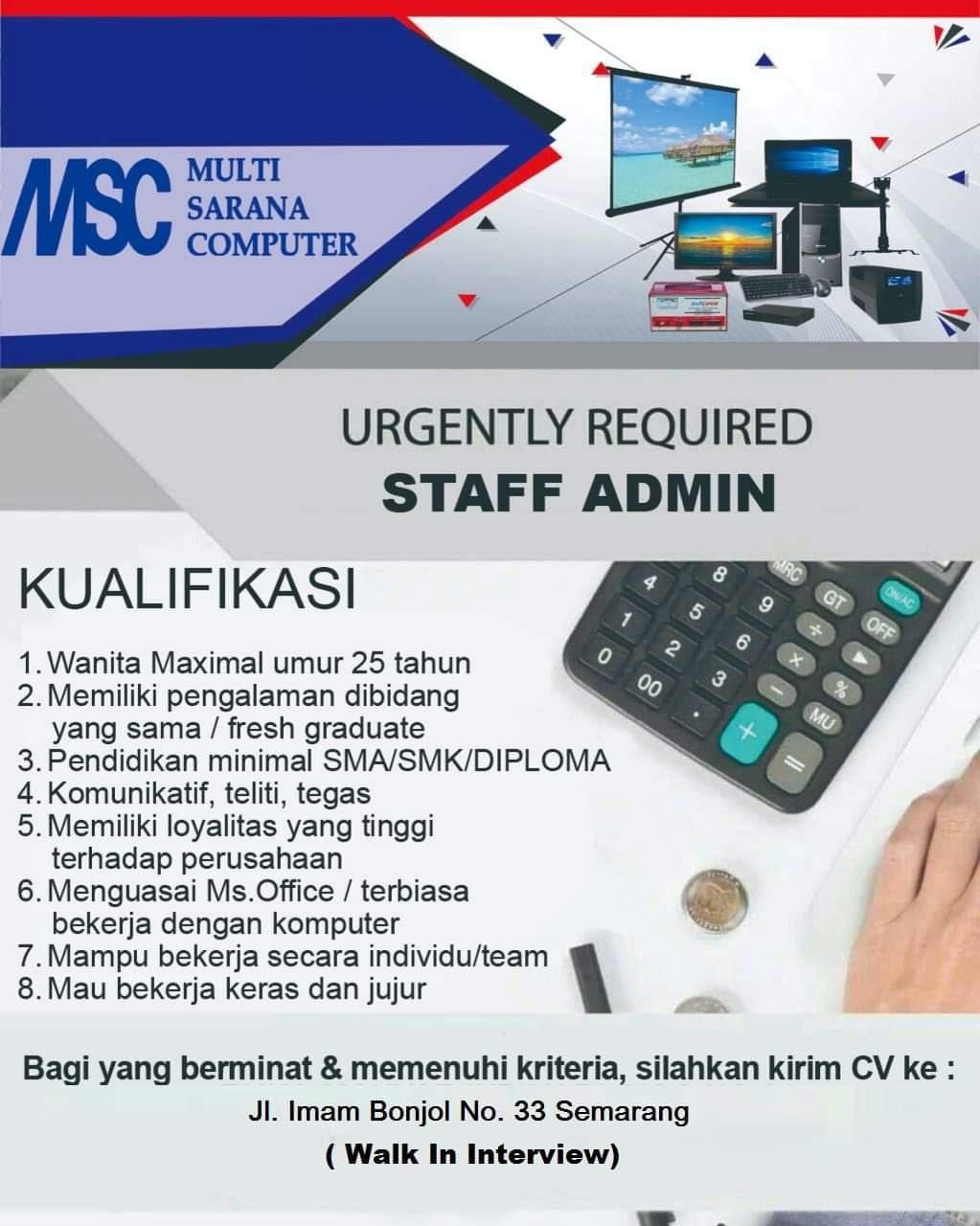 Multi Sarana Computer Membuka lowongan Sebagai Staff Admin Semarang