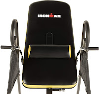 Ergonomic backrest with removable lumbar pillow on Ironman Gravity 5000 Inversion Table, image