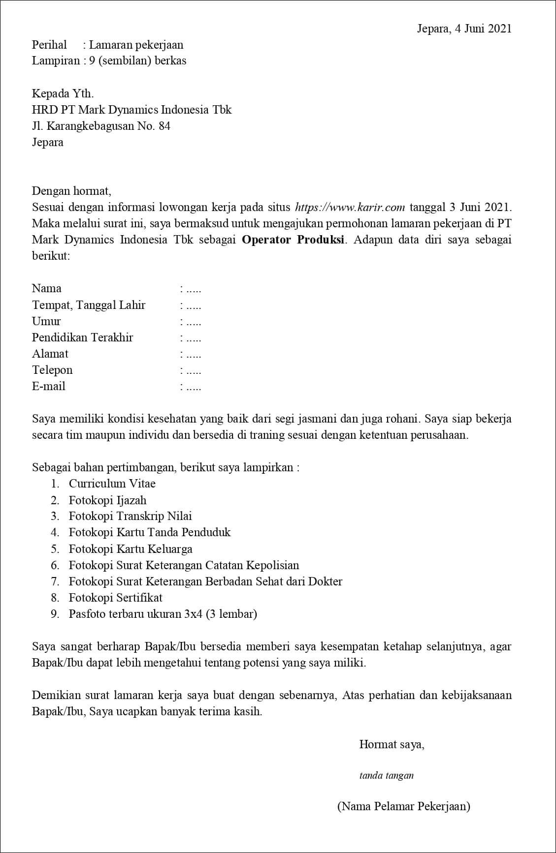 Contoh Surat Lamaran Kerja Untuk Operator Produksi Fresh Graduate Tanpakoma