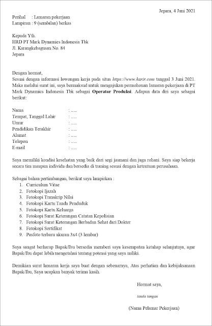 Contoh Application Letter Untuk Operator Produksi (Fresh Graduate) Berdasarkan Informasi Dari Website